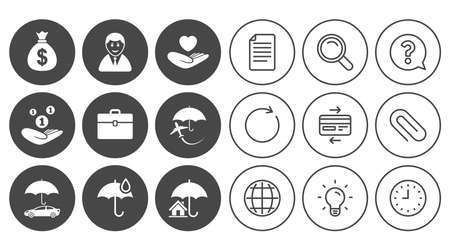 Insurance icons; Life, Real estate and House signs, Saving money, vehicle and umbrella symbols, Document, Globe and Clock line signs, Lamp, Magnifier and Paper clip icons. Illustration