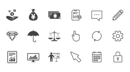 Money, cash and finance icons, Money savings, justice scales and report signs, Presentation, analysis and umbrella symbols, Chat, Report and Calendar line signs, Service, Pencil and Locker icons 向量圖像