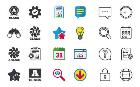 A-class award icon, A-class ventilation sign, Premium level symbols, Chat, Report and Calendar signs, Stars, Statistics and Download icons. Question, Clock and Globe.