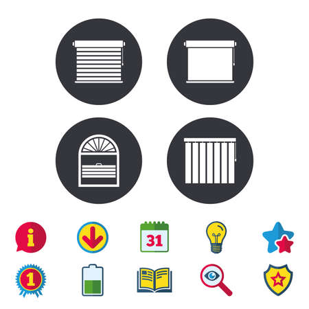 Louvers icons, Plisse, rolls, vertical and horizontal, Window blinds or jalousie symbols.