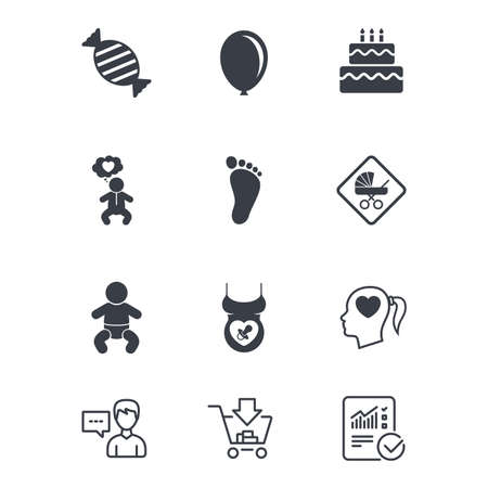 Pregnancy, maternity and baby care icons, Candy, strollers and pacifier signs, Footprint, birthday cake and heart symbols. 向量圖像