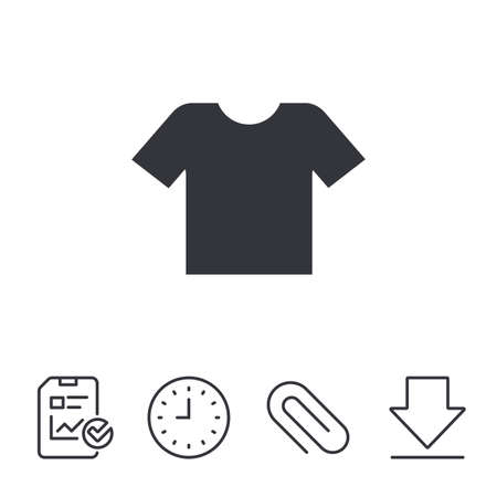 T-shirt sign icon. Clothes symbol. Report, Time and Download line signs. Paper Clip linear icon. Vector