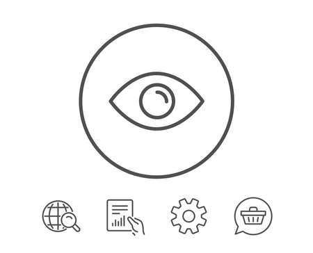 目の線のアイコン、外観や光波の視覚記号、ビューまたは時計のシンボル。  イラスト・ベクター素材