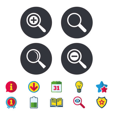 Magnifier glass icons, Plus and minus zoom tool symbols, Search information signs. Иллюстрация