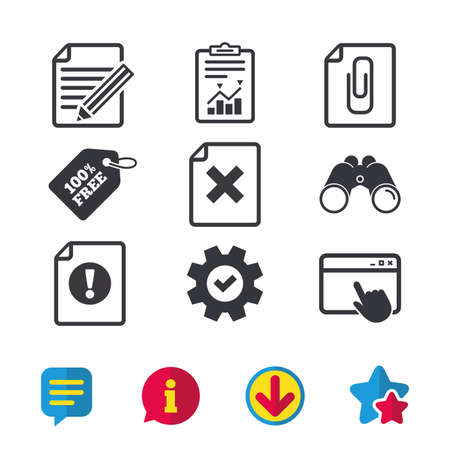 attached: File attention icons, Document delete and pencil edit symbols, Paper clip attach sign. Illustration