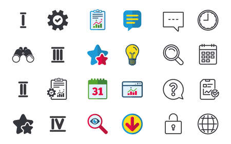 Roman numeral icons. 1, 2, 3 and 4 digit characters. Ancient Rome numeric system. Chat, Report and Calendar signs. Stars, Statistics and Download icons. Question, Clock and Globe. Vector Illustration