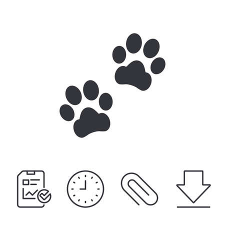 Paw sign icon. Dog pets steps symbol. Report, Time and Download line signs. Paper Clip linear icon. Vector Vettoriali