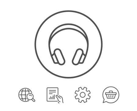 Headphones line icon. Music listening device sign. DJ or Audio symbol. Hold Report, Service and Global search line signs. Shopping cart icon. Editable stroke. Vector Illustration
