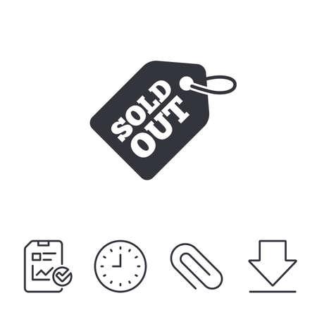 タグ アイコンは完売。メッセージ サインをショッピングします。特別オファー バナー記号です。レポート、時間、線記号をダウンロードします。