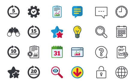 Every 5, 10, 15 and 20 minutes icons. Full rotation arrow symbols. Iterative process signs. Chat, Report and Calendar signs. Stars, Statistics and Download icons. Question, Clock and Globe. Vector Imagens - 80909770