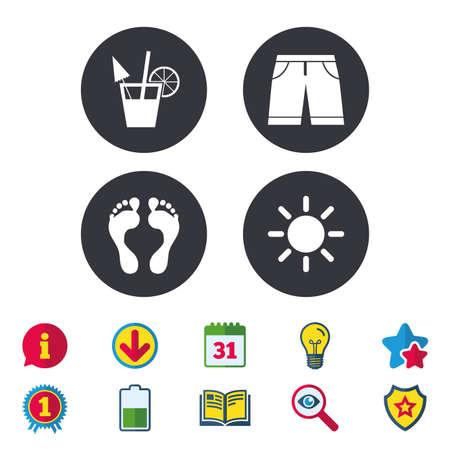 Strandvakanties pictogrammen. Cocktail, menselijke voetafdrukken en zwembroek tekenen. Zomerzon symbool. Kalender, informatie en downloadborden. Pictogrammen voor sterren, awards en boeken. Gloeilamp, schild en zoeken Stock Illustratie
