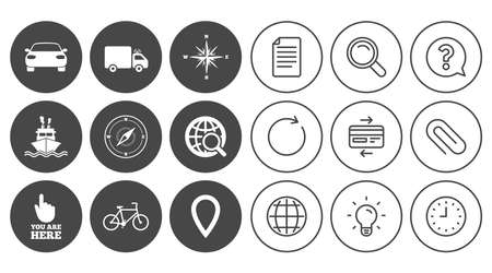 Navigation, gps icons. Windrose, compass and map pointer signs. Bicycle, ship and car symbols. Document, Globe and Clock line signs. Lamp, Magnifier and Paper clip icons. Vector Illustration