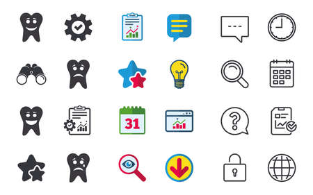 Tooth smile face icons. Happy, sad, cry signs. Happy smiley chat symbol. Sadness depression and crying signs. Chat, Report and Calendar signs. Stars, Statistics and Download icons. Vector Illusztráció