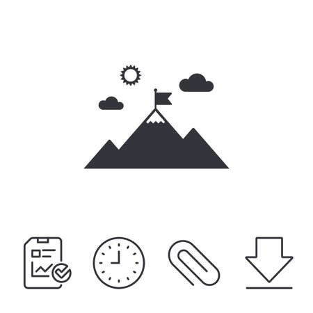 Flag on mountain icon. Leadership motivation sign. Mountaineering symbol. Report, Time and Download line signs. Paper Clip linear icon. Vector Illustration