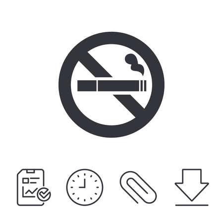 Niet roken teken pictogram. Sigaret symbool. Rapport-, tijd- en downloadlijnborden. Paperclip lineair pictogram. Vector Stock Illustratie