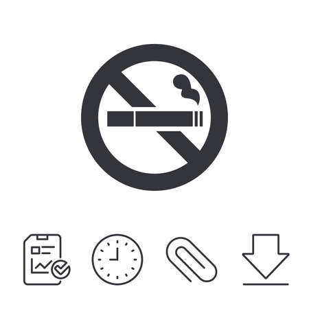 No Smoking sign icon. Cigarette symbol. Report, Time and Download line signs. Paper Clip linear icon. Vector