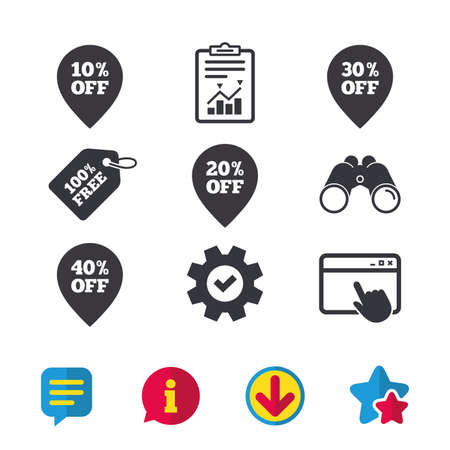 thirty percent off: Sale pointer tag icons. Discount special offer symbols. 10%, 20%, 30% and 40% percent off signs. Browser window, Report and Service signs. Binoculars, Information and Download icons. Stars and Chat