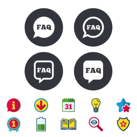 FAQ information icons. Help speech bubbles symbols. Circle and square talk signs. Calendar, Information and Download signs. Stars, Award and Book icons. Light bulb, Shield and Search. Vector