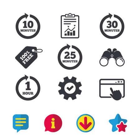 すべての 10、25、30 分や 1 時間アイコン。回転矢印記号。反復的なプロセスの兆候。ブラウザー ウィンドウ、レポートとサービスの兆候。双眼鏡は