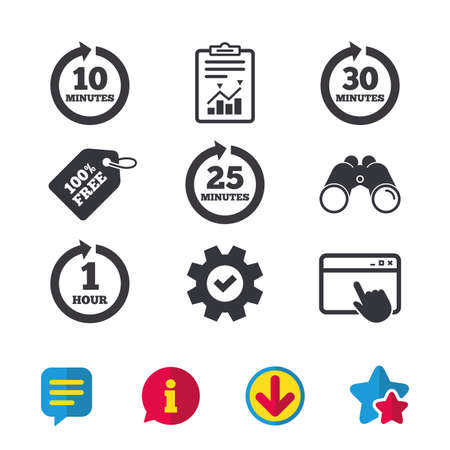 five star: Every 10, 25, 30 minutes and 1 hour icons. Full rotation arrow symbols. Iterative process signs. Browser window, Report and Service signs. Binoculars, Information and Download icons. Stars and Chat