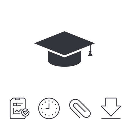 Graduation cap sign icon. Higher education symbol. Report, Time and Download line signs. Paper Clip linear icon. Vector 向量圖像