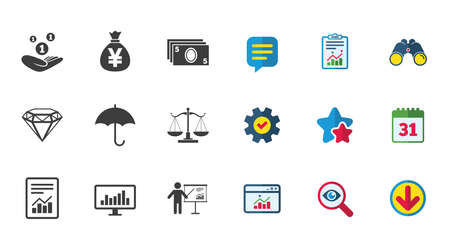 Money, cash and finance icons. Money savings, justice scales and report signs. Presentation, analysis and umbrella symbols. Calendar, Report and Download signs. Stars, Service and Search icons