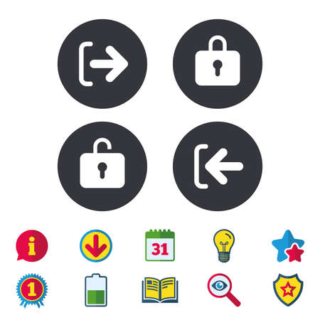 Login and Logout icons. Sign in or Sign out symbols. Lock icon. Calendar, Information and Download signs. Stars, Award and Book icons. Light bulb, Shield and Search. Vector