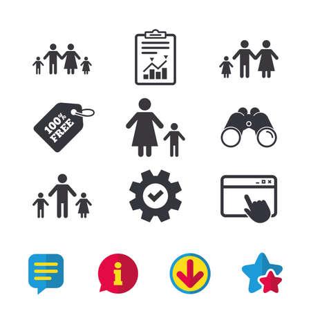 Familia con dos niños icono. Símbolos de padres e hijos. Señales de familia monoparental. Madre y padre divorciados. Ventana del navegador, Señales de informe y servicio. Binoculares, información y descargar iconos Foto de archivo - 80910094