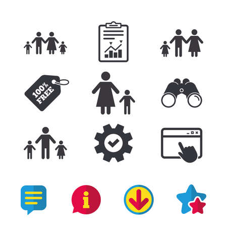allowance: Family with two children icon. Parents and kids symbols. One-parent family signs. Mother and father divorce. Browser window, Report and Service signs. Binoculars, Information and Download icons Illustration