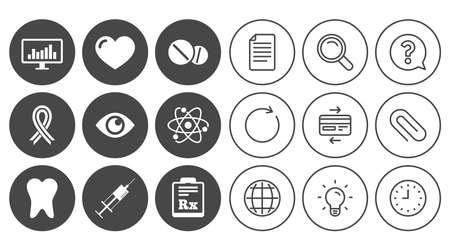 Medicine, medical health and diagnosis icons. Syringe injection, heart and pills signs. Tooth, awareness ribbon symbols. Document, Globe and Clock line signs. Lamp, Magnifier and Paper clip icons