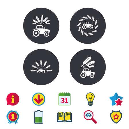 Traktor-Symbole. Kranz aus Weizen Mais Zeichen. Landwirtschaftliche Verkehrssymbole. Kalender, Information und Download-Zeichen. Sterne, Auszeichnung und Buch Symbole. Glühbirne, Schild und Suche. Vektor Standard-Bild - 80909947