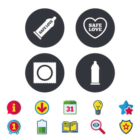 Safe sex love icons. Condom in package symbol. Fertilization or insemination. Heart sign. Calendar, Information and Download signs. Stars, Award and Book icons. Light bulb, Shield and Search. Vector Illustration