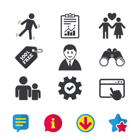 Businessman person icon. Group of people symbol. Man love Woman or Lovers sign. Caution slippery. Browser window, Report and Service signs. Binoculars, Information and Download icons. Stars and Chat Ilustração