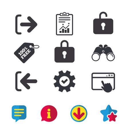 Iconos de inicio de sesión y cierre de sesión. Símbolos de inicio de sesión o de cierre de sesión. Icono de bloqueo. Ventana del navegador, signos de informes y servicio. Binoculares, información y descargar iconos. Estrellas y Chat. Vector Foto de archivo - 80909958