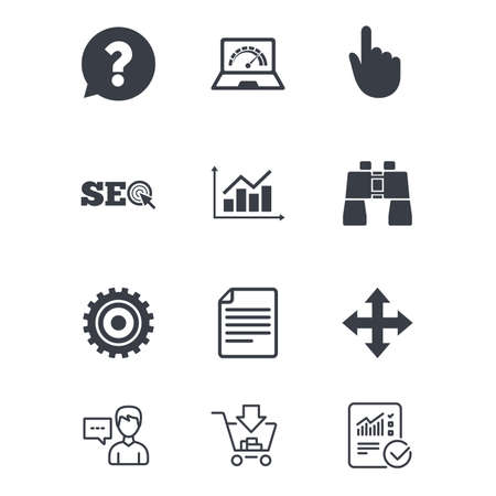 internet search: Internet, seo icons. Analysis chart, page and computer signs. Question speech bubble symbol. Customer service, Shopping cart and Report line signs. Online shopping and Statistics. Vector