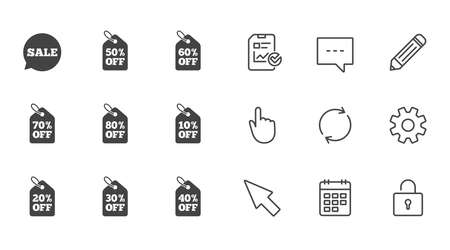 판매 할인 아이콘입니다. 특별 제안 표지판. 쇼핑 가격 태그 기호입니다. 채팅, 보고서 및 캘린더 라인 기호. 서비스, 연필 및 사물함 아이콘입니다. 클