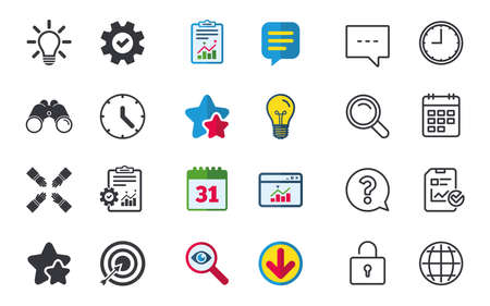 Lamp idea and clock time icons. Target aim sign. Darts board with arrow. Teamwork symbol. Chat, Report and Calendar signs. Stars, Statistics and Download icons. Question, Clock and Globe. Vector