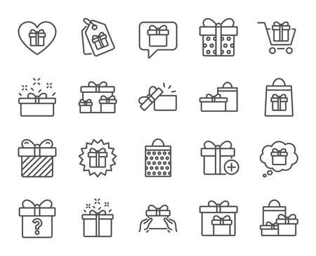 プレゼント ライン アイコン。プレゼント ボックス、提供および販売のセットに署名します。ショッピング カートは、タグし、シンボル チャットし