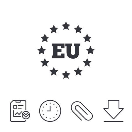 European union icon. EU stars symbol. Report, Time and Download line signs. Paper Clip linear icon. Vector
