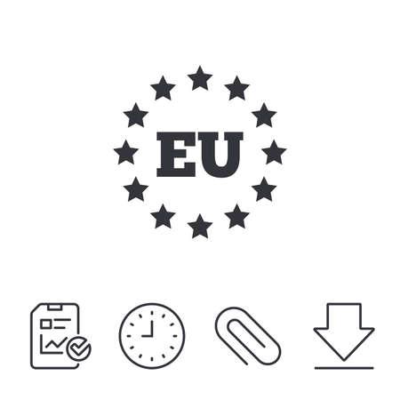 European union icon. EU stars symbol. Report, Time and Download line signs. Paper Clip linear icon. Vector