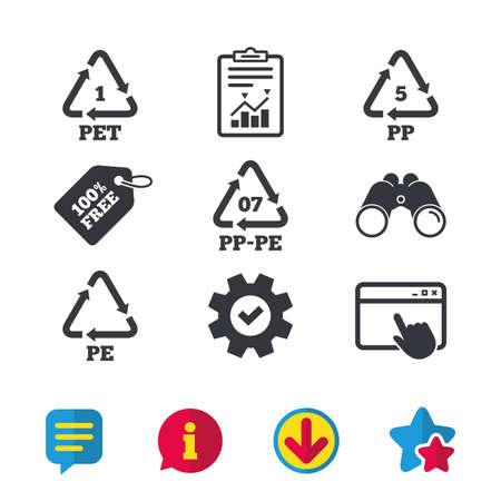ペット 1、PP pe 07、5 PP および PE のアイコン。高密度ポリエチレン テレフタ レートの看板。リサイクルのシンボル。ブラウザー ウィンドウ、レポー