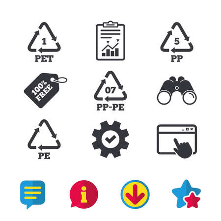 PET 1, PP-pe 07, PP 5 and PE icons. High-density Polyethylene terephthalate sign. Recycling symbol. Browser window, Report and Service signs. Binoculars, Information and Download icons. Stars and Chat