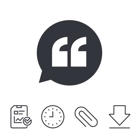 Quote sign icon. Quotation mark in speech bubble symbol. Double quotes. Report, Time and Download line signs. Paper Clip linear icon. Vector