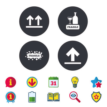 Fragile icons. Delicate package delivery signs. This side up arrows symbol. Calendar, Information and Download signs. Stars, Award and Book icons. Light bulb, Shield and Search. Vector