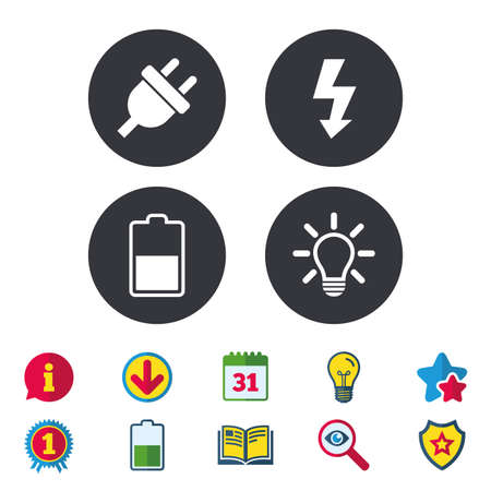 Electric plug icon. Light lamp and battery half symbols. Low electricity and idea signs. Calendar, Information and Download signs. Stars, Award and Book icons. Light bulb, Shield and Search. Vector Иллюстрация