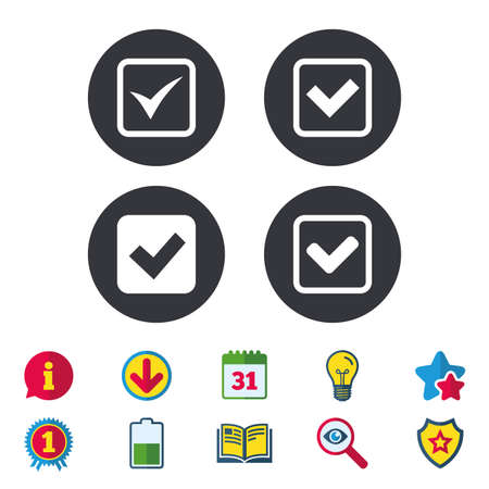 Check icons. Checkbox confirm squares sign symbols. Calendar, Information and Download signs. Stars, Award and Book icons. Light bulb, Shield and Search. Vector