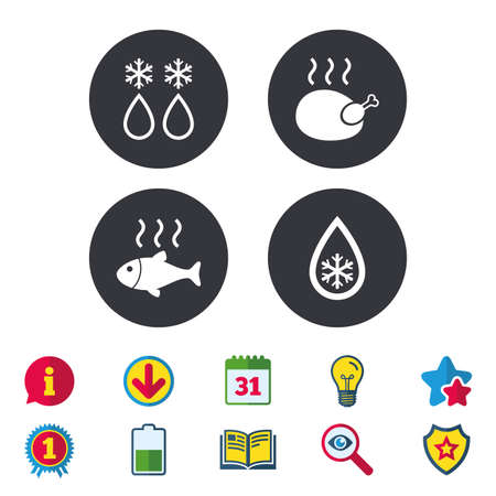 star award: Defrosting drop and snowflake icons. Hot fish and chicken signs. From ice to water symbol. Calendar, Information and Download signs. Stars, Award and Book icons. Light bulb, Shield and Search. Vector