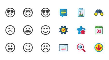 笑顔のアイコン。幸せ、悲しい、ウインク印に直面しています。サングラス、口ひげ、笑絵文字シンボルを笑っています。カレンダー、レポートお