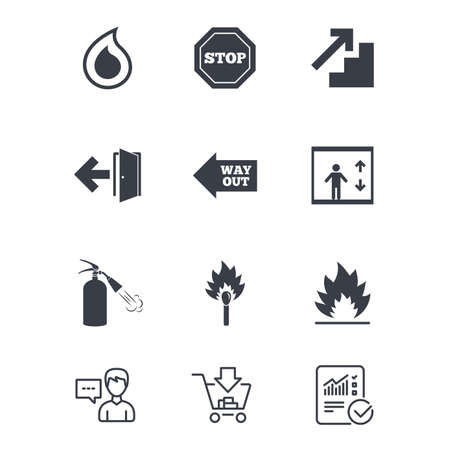 火災安全、緊急アイコン。消火器、終了、一時停止の標識。エレベーター、水ドロップとのシンボルと一致します。顧客サービス、ショッピングカ