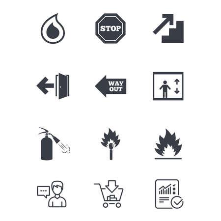 Brandveiligheid, noodpictogrammen. Brandblusser, uitgang en stopborden. Symbolen voor lift, waterdruppel en lucifer. Klantenservice, winkelwagen en rapportregels. Online winkelen en statistieken Stock Illustratie